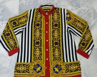 Vintage ELLE Silk shirt button down/fullprint/multicolour/spellout/fashion designer