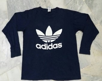 Vintage 90s Adidas trefoil long sleeve tee/big logos/spellout/blue/medium/made in usa