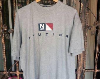 Vintage Nautica Tee spellout/xl/grey/made in usa/sportwear/streetwear/