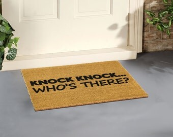 Knock Knock Who's There doormat - 60x40cm - Quirky doormat gift
