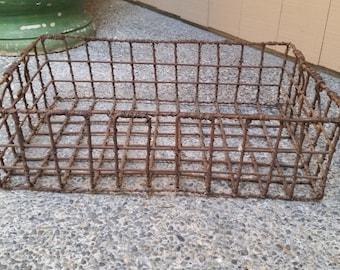 Vintage French Basket - Vintage French Wire Oyster Basket, Iron Basket, Garden Basket