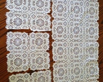 SALE CROCHETED LACE 4Pc Vintage Crochet Lace Table Runner and Doilies Vintage Linens Shabby & Chic Victorian Linens Antique Lace