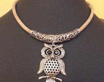 Handmade silver owl,natural portuguese cork