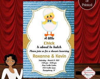 Baby Chick Baby Shower Invitation, Chick Hatching Invitation, Digital Chick, Chick with Bowtie, Baby Shower Invitation
