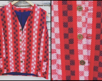1960's Red, White, and Blue Checkered/Striped Vest