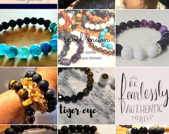 Design Your Own 10mm Semi-precious diffuser bracelet