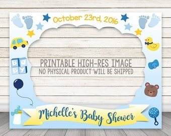PRINTABLE Boy Baby Shower Photo Booth Frame, Baby Shower Photo Booth prop, Gender Reveal Photo Booth Frame, Blue Boy Baby Shower Photobooth