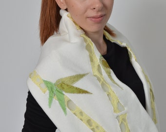 Infinity Scarf, Christmas gift, White Fleece Embroidered with Lace , Warm Scarf , Gift for Her