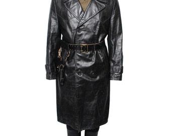 Soviet - Russian Military Uniform Leather black Trench Coat NKVD WW2 Officer