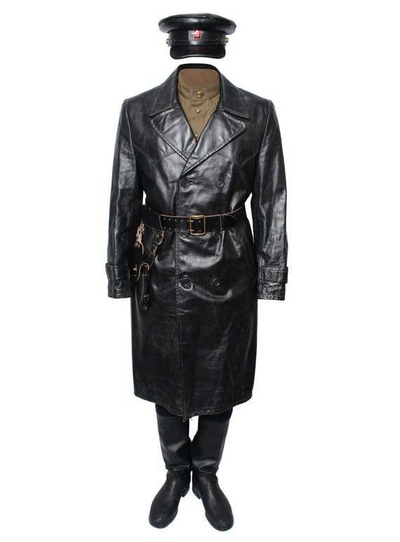 Soviet Russian Military Uniform Leather black Trench Coat