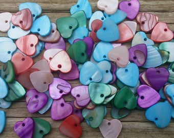 100 Colorful Seashell Heart Charms, 12mm