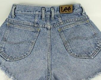 "Vintage HIGH WAIST Lee Denim Jean Cutoffs~Mom Jeans Shorts 28"" Waist~ Frayed Short Shorts Size 11~100% Cotton Made in USA~ Boho~Festival"