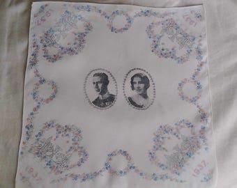 Silk handkerchief, Coronation King George VI 1937, souvenirs, memorabilia UK