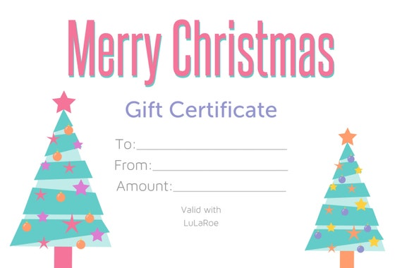 Merry Christmas Gift Certificate 4x6
