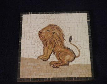 Handcrafted Natural Stone Lion Mosaic