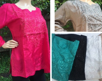 Variety of Silk Short Embroidered Kurtas