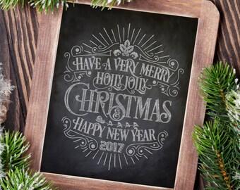 Merry Christmas print, Chalkboard Christmas sign, Chalkboard sign, Christmas decor, Rustic christmas, Rustic holiday decor, Christmas art