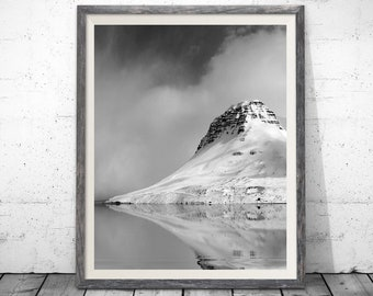 Iceland Fjord, Black and White Photography, Winter Print, Minimal Print, Iceland Printable, Mountain Print, Black White Photo, Poster,