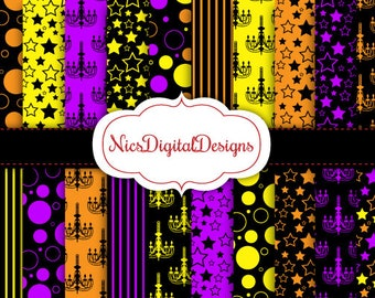 Buy 2 Get 1 Free-20 Digital Papers. Halloween Chandelier Patterns in Colours 2 (2E no 2) for Personal Use and Small Commercial Use