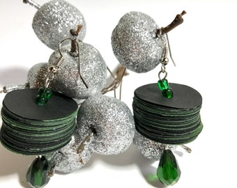 Elegant earrings made with olive black construction paper and diskettes, handcrafted jewelry, gift for her