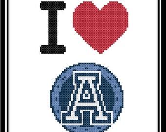 I Love The Toronto Argonauts Counted Cross Stitch Pattern (PDF Download)