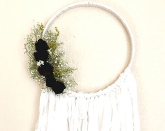 Enchanting Wall Hanging / Dried Flower Wall Hanging / Botanical Dream Catcher / Boho Wall Hanging / Vintage / Gifts for Her /VI