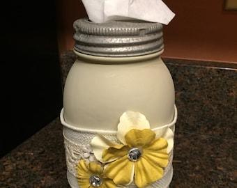 Mason Jar Tissue Holder, Kleenex Holder, Cubs Tissue Holder