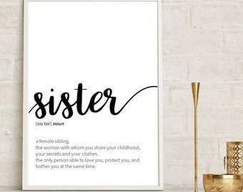 Sister Definition, Siblings Gift, Sister Print, Dictionary Art, Minimalist Poster, Funny Definition Print, Home Decor, Wedding Gift, Sisters