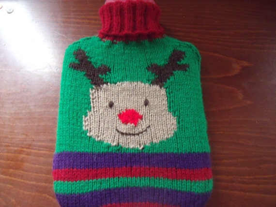 Christmas reindeer hot water bottle cover hand knitted