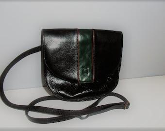 Vintage Italian crossbody bag Puccini Black green leather shoulder pouch handbag messenger quality with adjustable strap zippered pocket