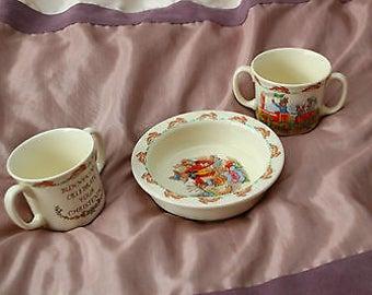 Vintage Royal Doulton Bunnykins Set - Dish and 2 Mugs