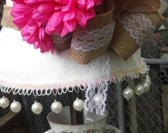 Tea pot and teacup lamp with hat lampshade