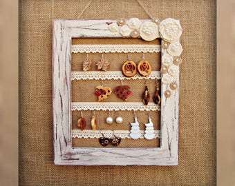 Shabby Chic Wall Jewelry Display Earring Holder Frame Jewelry Organizer Home Decor
