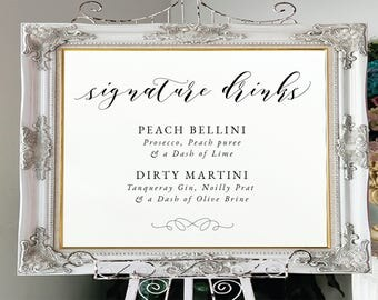 Signature Drinks Sign-Signature Cocktails Sign-Editable PDF-Instant Download-Printable Wedding Sign-Printable Signature Drinks-#SN029_W