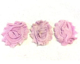"Soft Lilac Gorgeous Shabby Frayed Chiffon Flower Rosettes 3 x 2.5"", hair bands, clips, crafts etc"