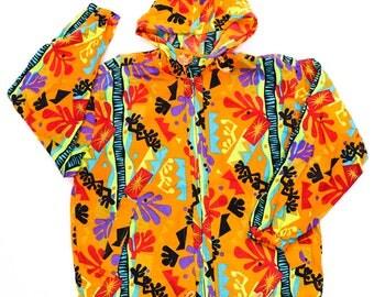 Vintage 80s 90s Hottest Multi Color  Windbreaker Jacket Hoodie