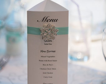 Wedding Reception Table Numbers, Menu and Thank you cards
