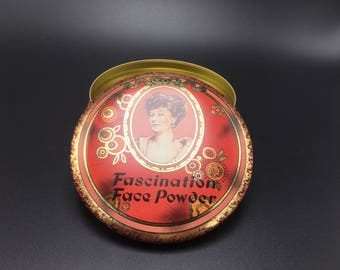Vintage Fascination Face Powder tin container.