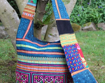 Boho slouch bag, hippie bag, bucket bag, hobo bag, crossbody bag, Hmong bag, vintage textile, embroidered bag, bohemian bag, patchwork