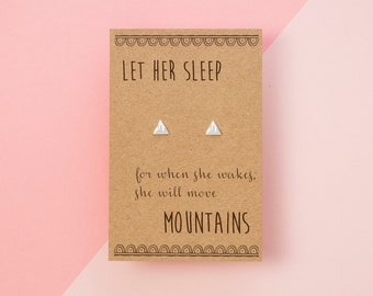 Sterling Silver Mountain Earrings with Hand Designed Kraft Gift Card
