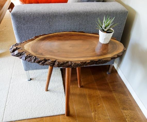 Artisan wood slice table live edge side table tree trunk