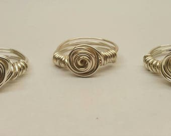 Rose shaped ring, wire wrapped rose ring, bridesmaid gift, silver wire wrapped ring, rose gold wire wrapped ring, mothers day rose ring