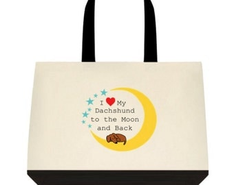 Dachshund Love to the Moon and Back Tote