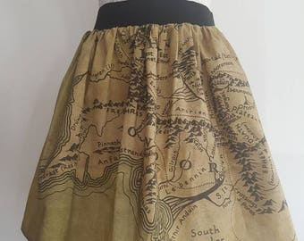 Adult Lord of the Rings Inspired Map of Middle Earth Full Skater Skirt