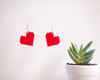 8-Bit Heart Earrings