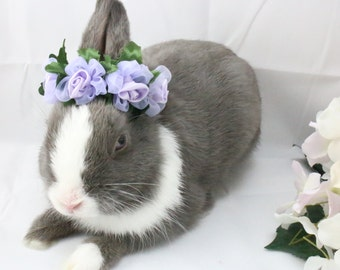 Temporarily OUT-OF-STOCK ~ Purple Satin Flower crown / Bunny crown / Flower crown for rabbits and small pets