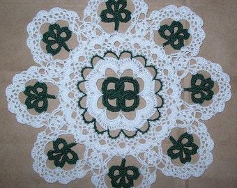 Irish Knots & Four Leaf Clover St Patrick's Day Crochet Doily Pattern PDF