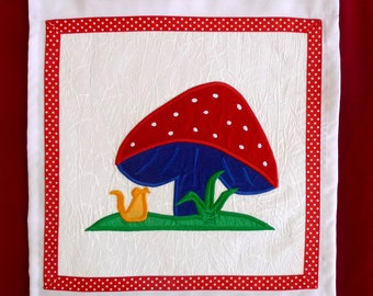 Kid's Wall-hanging - Applique Textile Art – MUSHROOM & MOUSE. Perfect Gift for baby, birthday, child, Christening, xmas/christmas.