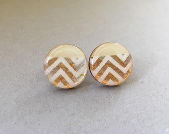 20mm Copper Shimmer Chevron Resin/Bamboo Round Studs • Earrings • Hypoallergenic • Surgical Steel • Glossy