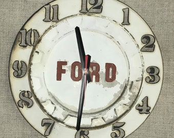 Upcycled Ford hubcap clock